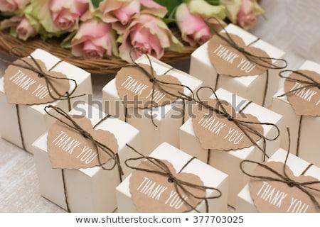Esküvő szívesség közelkép fából készült rózsa dekoratív Stock fotó © aladin66