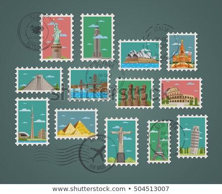 Stock fotó: Gyűjtemény · modern · vektor · bélyegek · friss · papír