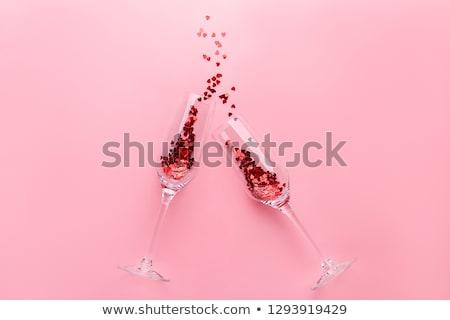 Harten fluiten Rood gelei champagne grijs Stockfoto © ruigsantos