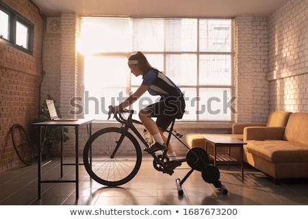 Bisiklete binme ayrıntılı siluet vektör format kolay Stok fotoğraf © abdulsatarid