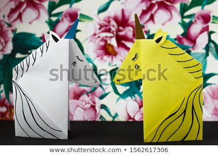 Stock photo: Horse made by origami technique
