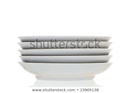 スタック 白 ディナー プレート 孤立した 背景 ストックフォト © tehcheesiong
