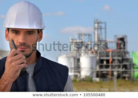 Jungen Anleitung Radio Mann blau Industrie Stock foto © photography33