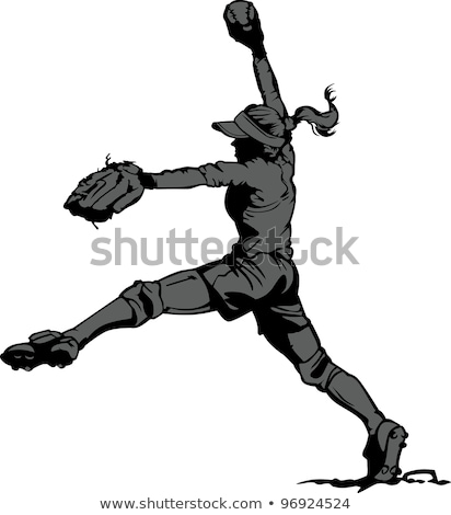 Fast Pitch Softball Pitcher Vector Illustration Stock photo © chromaco