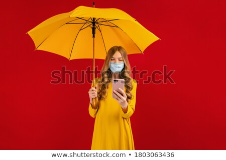 background for messages with a yellow umbrella stock photo © teirin_toys