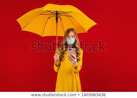 желтый зонтик дождь воды счастливым Сток-фото © teirin_toys