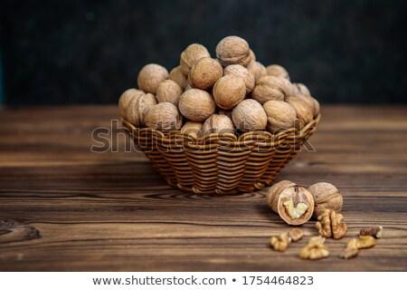 バスケット 白 暗い 木製のテーブル 食品 フルーツ ストックフォト © franky242