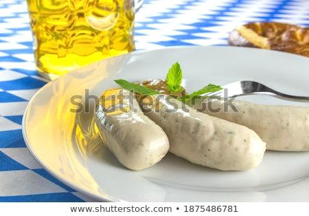 Taze beyaz sosis tuzlu kraker hardal bira Stok fotoğraf © haraldmuc