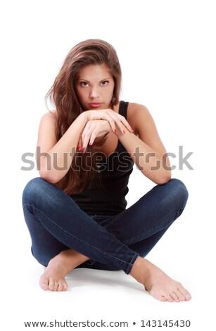 Vonzó nő görbület térd derűs izolált fehér Stock fotó © acidgrey