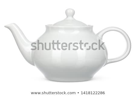 Pot thé chinois thé vert isolé blanche Photo stock © papa1266