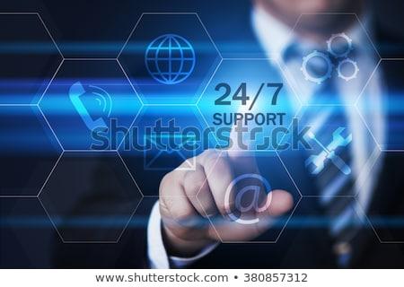 24 サポート 六角形 ボタン 3D 青 ストックフォト © marinini