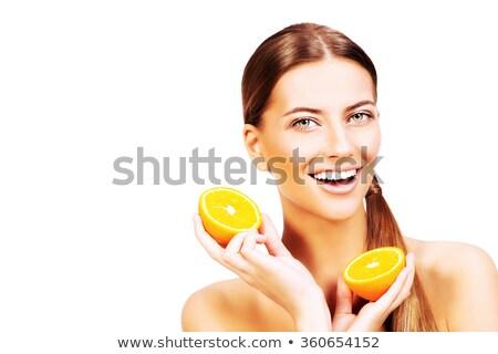 dość · dziewczyna · pomarańczowy · poduszka · odizolowany - zdjęcia stock © dash