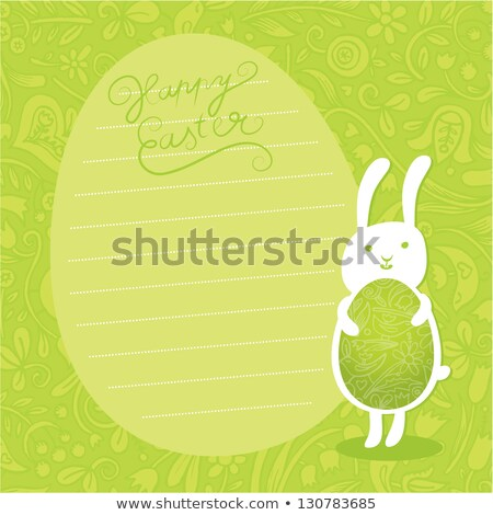 Aranyos vektor húsvéti nyuszi tart díszes húsvéti tojás Stock fotó © vitek38