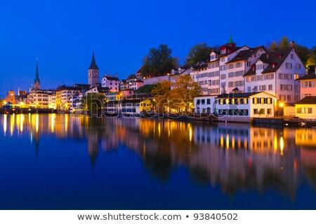 Zurigo fiume notte cielo città chiesa Foto d'archivio © elxeneize