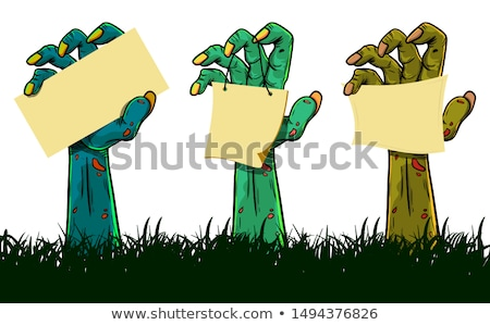 Zombie hand holding sign Stock photo © Krisdog