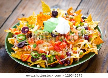 Nachos groenten voedsel kaas lunch Mexicaanse Stockfoto © M-studio