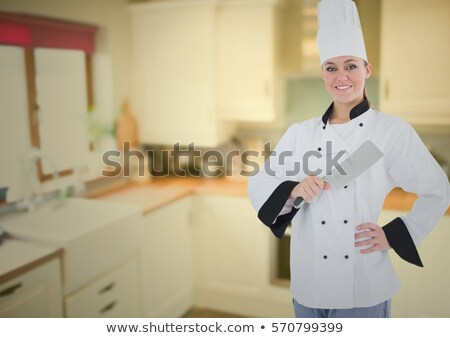 Portrait of female chef with meat cleaver stock photo © wavebreak_media