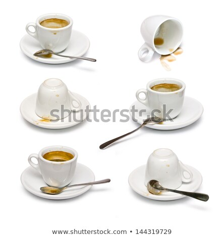 Dirty used coffe cup, white porcelain Stock photo © lunamarina
