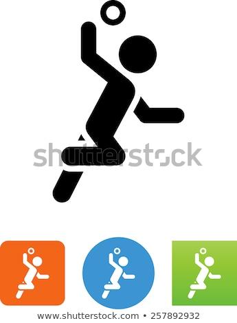 Handball players silhouette. Vector colored illustration Stock photo © leonido