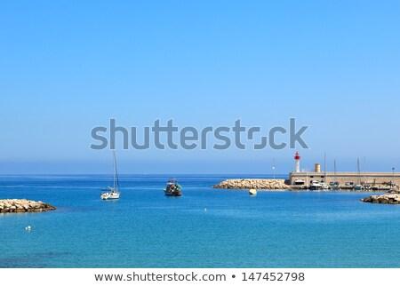 Blue sea at the entrance to marina of Menton, France. Stock photo © rglinsky77