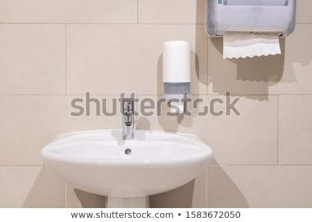 Washbasin with a paper towel and liquid soap Stock photo © Ralko
