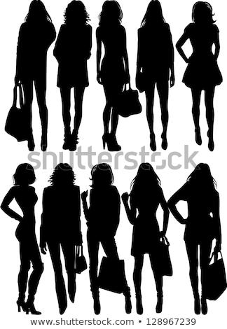 mooie · jonge · vrouw · silhouet · winkelen · kleur · schilderij - stockfoto © impresja26