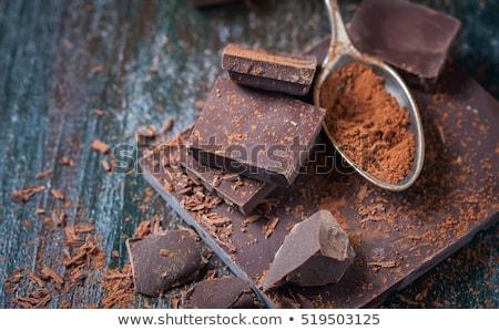 Koyu çikolata parçalar yalıtılmış beyaz tatlı Stok fotoğraf © zhekos