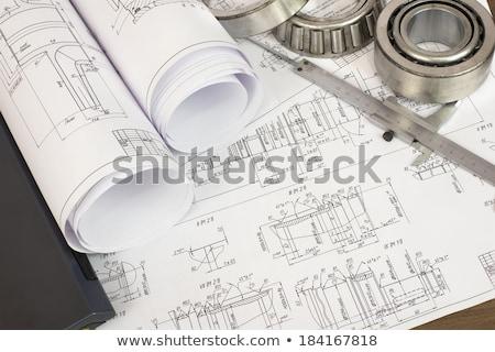 エンジニアリング 図面 ノートパソコン デスク エンジニア ストックフォト © cherezoff