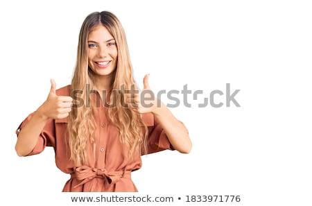 pozitív · fiatal · nő · hosszú · haj · kék · szemek · nő · mosoly - stock fotó © Nejron