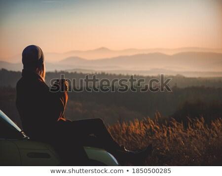 Bella ragazza rilassante montagna sport natura campo Foto d'archivio © Nejron