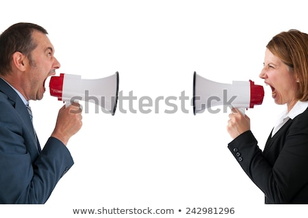 Business conflitto megafono isolato imprenditore imprenditrice Foto d'archivio © leeavison