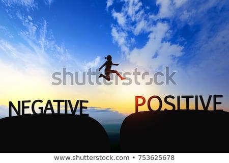 Pozitif negatif kapıyı açmak kapalı ev duvar Stok fotoğraf © flipfine