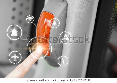 popychanie · panika · przycisk · osoby · naciśnij · duży - zdjęcia stock © flipfine