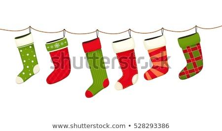 Natale stocking regali decorativo pattern verde Foto d'archivio © elenapro