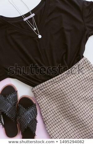 Elegante vrouw rok zwarte blouse Stockfoto © gromovataya