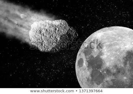 Burning asteroid hitting earth surface stock photo © alinbrotea