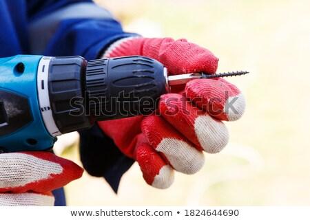 Bateria chave de fenda três de um tipo isolado branco mão Foto stock © ozaiachin