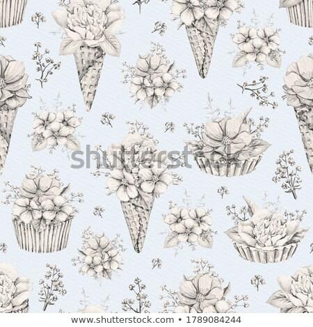 Cream cake blue seamless pattern stock photo © aliaksandra
