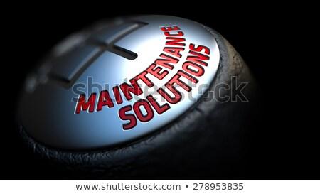 Stockfoto: Onderhoud · oplossingen · versnelling · stick · Rood · tekst
