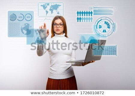 Young businesswoman with hand raised on white background studio stock photo © ambro