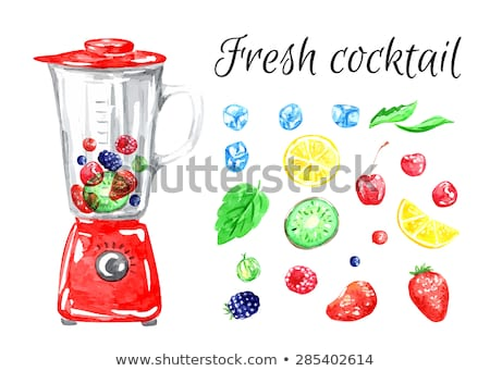 Red gooseberry in ice cube Stock photo © Givaga