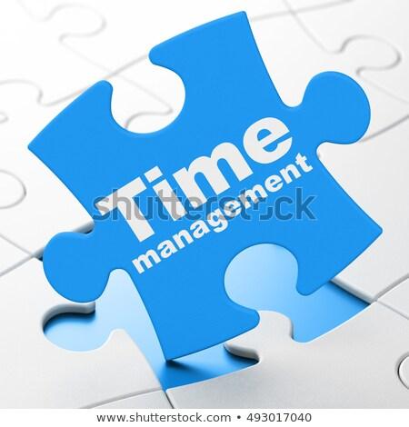 Stop - White Word on Blue Puzzles. Stock photo © tashatuvango