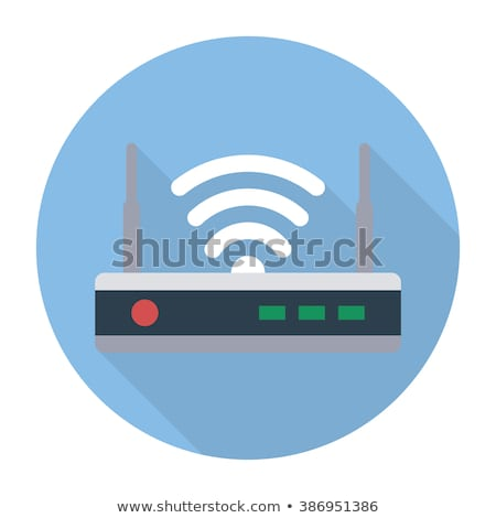 Internet Wi Fi Router. Flat Design. Long Shadow. Stock photo © WaD