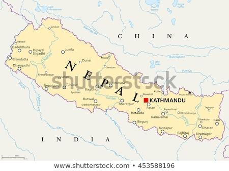 Térkép Nepál háttér vonal vektor Stock fotó © rbiedermann