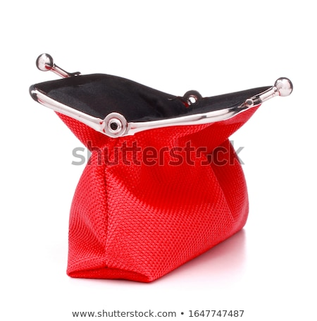 red purse and coins isolated on white background stock photo © tetkoren