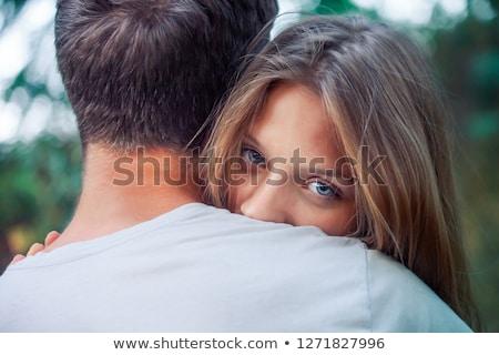 Kadın koca arkasında çift gülen Stok fotoğraf © imagedb