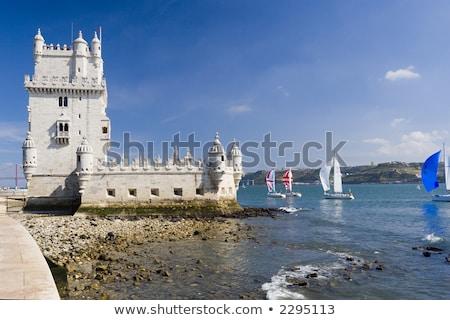 Vitorlás hajó torony vitorlázik folyó Lisszabon Portugália Stock fotó © compuinfoto