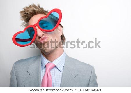 fickó · szív · portré · fiatalember · tart · papír - stock fotó © lunamarina