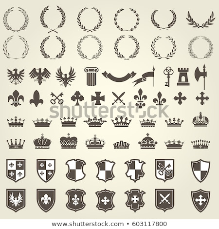 Crossing Swords Shield And Crown Label Stockfoto © GoMixer