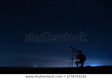 Telescopio silhouette illustrazione cielo notte Foto d'archivio © adrenalina